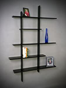 Deluxe Tall Floating Five Shelf, Black MADE IN USA