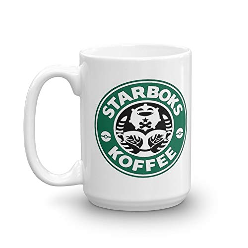Starboks Koffee 2.0. 15 Oz Ceramic Coffee Mug Also Makes A Great Tea Cup With Its Large, Easy to Grip C-handle. 15 Oz Ceramic Glossy Mugs Gift For Coffee Lover