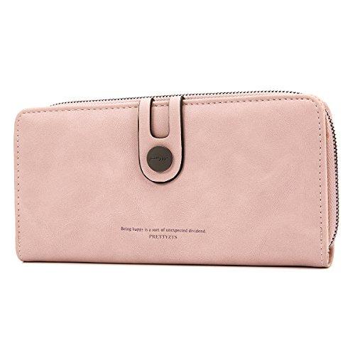 OURBAG Monedero de cuero Vintage Bifold Bolso de embrague Titular de la tarjeta de crédito Billetera larga para mujer Rosa claro