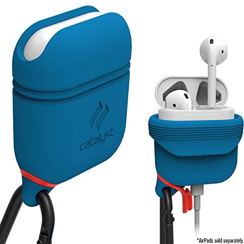Waterproof Airpods Case Cover by Catalyst, Shockproof and Drop Proof air pods Protective Cover Soft Skin, Anti-Lost Carabiner, Silicone Sealing, Charging - Blueridge/Sunset