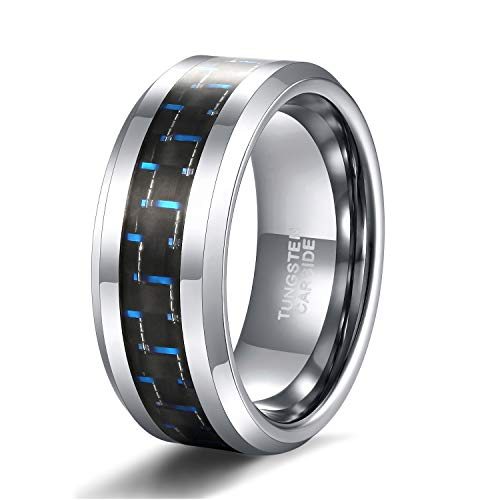 - 8mm Tungsten Carbon Fiber Ring for Men Women Black Blue Inlay Wedding Band Comfort Fit Size 8