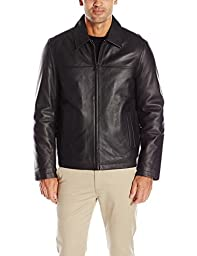 Tommy Hilfiger Men\'s Smooth Lamb Leather Laydown Collar Open Bottom Jacket, Black, M