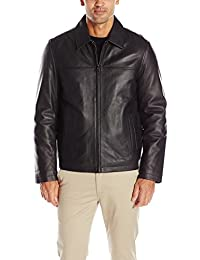 Tommy Hilfiger Men's Smooth Lamb Leather Laydown Collar Open Bottom Jacket