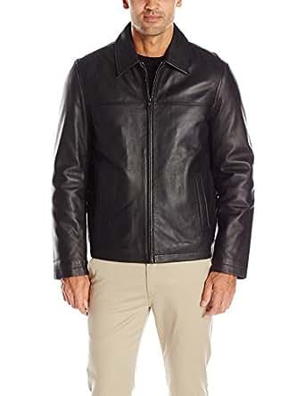 Tommy Hilfiger Men's Smooth Lamb Leather Laydown Collar Open Bottom Jacket, Black, M