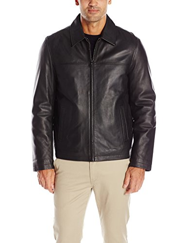 Tommy Hilfiger Men's Smooth Lamb Leather Laydown Collar Open Bottom Jacket, Black, XL