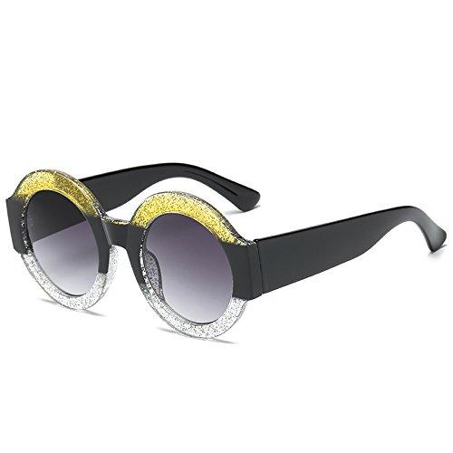 Amarillo Moda Negro Objektiv Marke Runde Spiegel Brillen claro Für Sonnenbrille Sonnenbrille KXLEB Marrón Weiblich Frauen Rahmen wqTIOAF