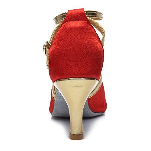 7cm baile Satén estándar de de Zapatos baile Rojo de modelo Mujer Ballroom SWDZM Zapatos latino 225 ES Tacón It0vqwTvx