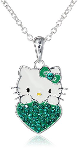"""Hello Kitty Girls May Crystal Birthstone Heart Pendant Necklace, 18"""""""