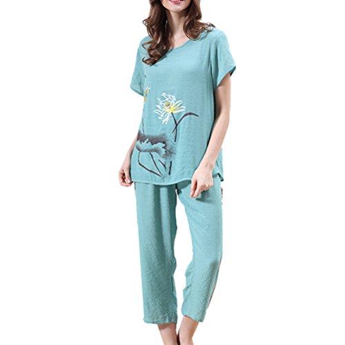 Zhhlaixing Womens Fashion Printing Short Sleeve Pyjama Suit Set Variety Colours Green