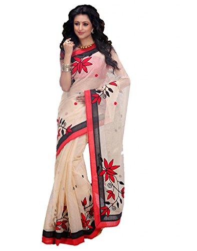 Flamboyant Designer Womens Indian Wedding Wear Beige & Red Embroidered Saree
