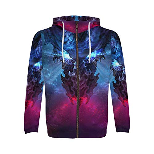 - INTERESTPRINT Black Dragon Gothic Men's Full-Zip Zipper Hoodies Sweatshirt 2XL