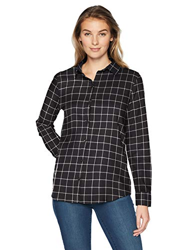 Amazon Essentials Women's Long-Sleeve Classic-Fit Lightweight Plaid Flannel Shirt Shirt, -black windowpane, X-Large ()