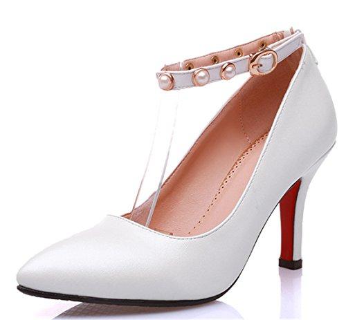 YE Damen Spitze High Heels Ankle Strap Pumps mit Knöchelriemchen und Perlen und Schnallen Weiß