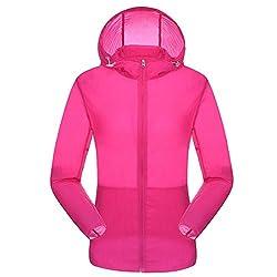 Homaok Men's/Women's Super Lightweight Quick-dry Summer Trench Coat XX-Small Dark Pink