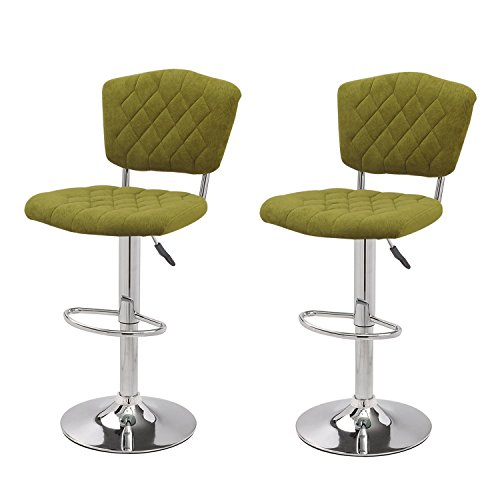 Adeco Modern Shining Euro Style Adjustable Height Swivel Bar Courter Stool, Dark Green Set of 2