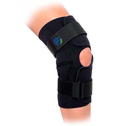 Advanced Hinged Wrap Around Knee Brace Black (Medium)