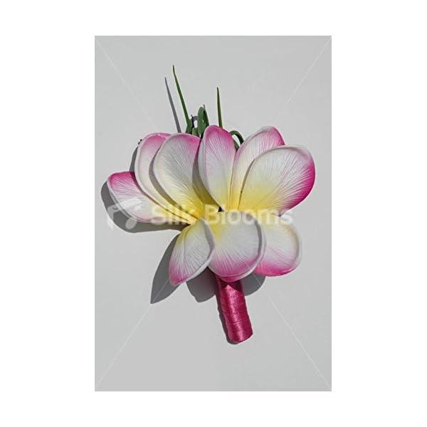 Pink Tipped White & Yellow Frangipani Plumeria Buttonhole