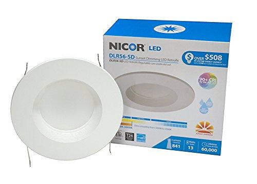 NICOR Lighting 5/6-Inch Sunset Dimming LED Downlight Retrofit Kit for Recessed Housings, White Baffle Trim (DLR56-SD-1007-WH-BF) (Inc Lamp Sunset)