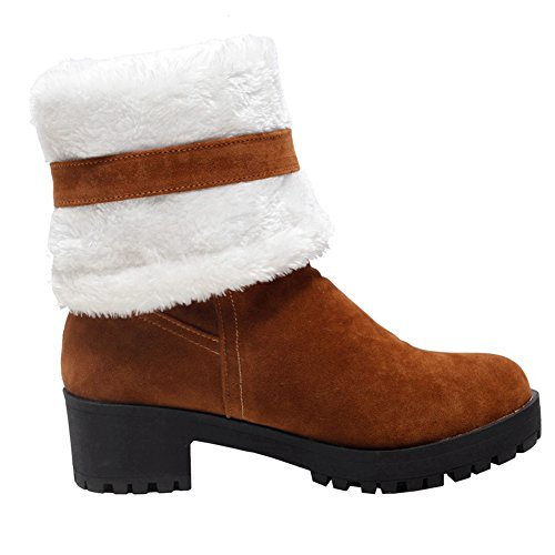DoraTasia Women's Bow Tie Chunky Mid Heel Shoes Warm Fur Snow Mid Calf Boots Yellow B1SI6oBr