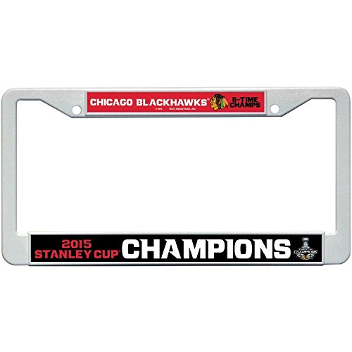 Chicago Blackhawks Official NHL 12 inch x 6 inch 2015 Stanley Cup Champions Plastic License Plate Frame by Rico Industries 887650