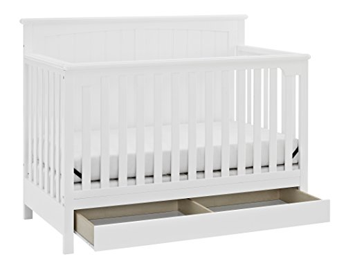 Stork Craft Davenport 5-in-1 Convertible Crib with Drawer, White