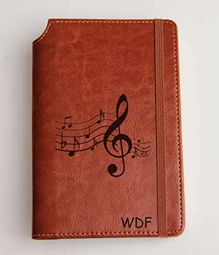 Music Notes Journal with Custom text or custom quote engraved leather bound, strip with the same color to keep it closed, jotter, scribbling pad scribbling block, notebook scratch fish - Leather Traditional Note Jotter
