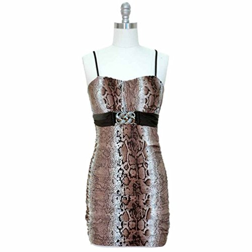 Luxury Divas Brown Snake Print Ruched Summer Dress With Pewter Buckle Size Medium