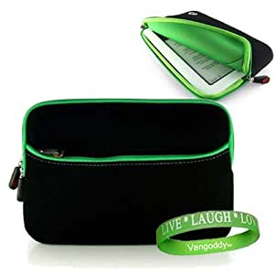 Borders Kobo Vox eReader Case Cover Sleeve Jet Black with Natural Green + A Vangoddy Live*Laugh*Love Wrist Band!!!