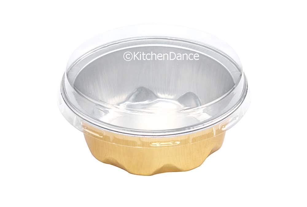 KitchenDance Colored Disposable Aluminum 2 Ounce Fluted Cups- Lid and Color Options- #A3 (Gold with Lids, 500)