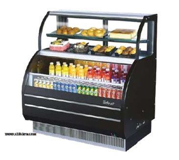 (Turbo Air TOM-W-60SB Open Display Merchandiser with Refrigerated Top Shelf Combination Case)
