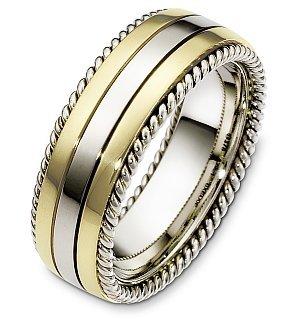Titanium Dora Ring (14 Karat Yellow Gold & Titanium Rope Style 8mm Wide Wedding Band - 11.75)