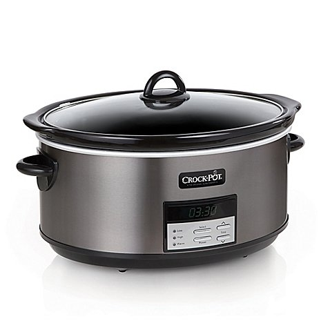 Programmable Slow Cooker in Black Stainless 8 qt.
