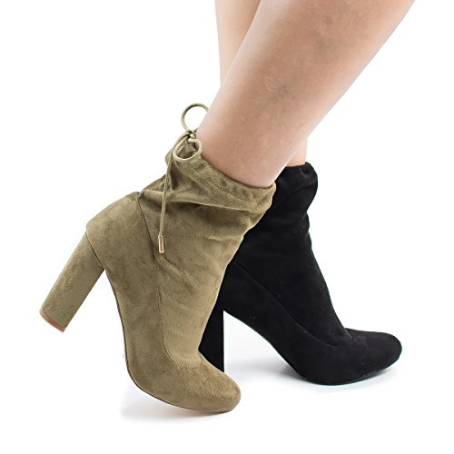 Liliana Kenzy3 OliveSued Drawstring Chunky High Heel Ankle Boots -10