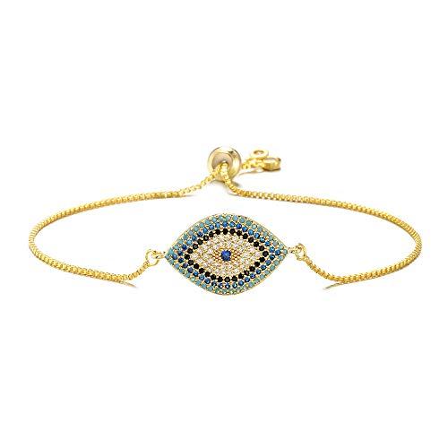 NEWBUY Trendy Gold Plated Turkish Evil Eye Bracelet Pave CZ Blue Eye Gold Chain Bracelet Adjustable Female Party Jewelry - Jewelry Trendy Bangles