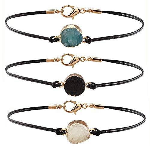 HUNO 3Pcs/Set Druzy Charm Leather Cord Choker Necklace Double Chain Crystal Necklace