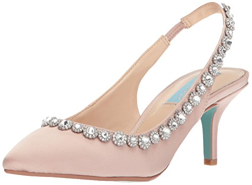 (Blue by Betsey Johnson Women's SB-Cici Pump Nude Satin 10 M US)
