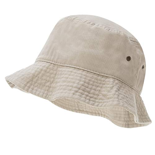 Bandana.com 100% Cotton Bucket Hat for Men, Women, Kids - Putty - Single Piece - Large/Extra Large Size - Summer Cap Fishing - Bucket Hat Adult