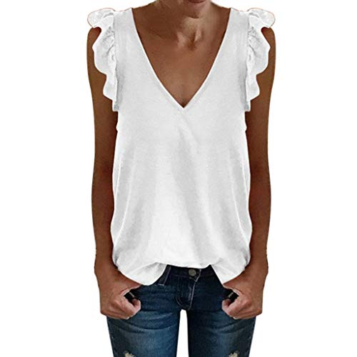 Sanyyanlsy Women's Casual Lace Ruffled Sleeve T-Shirt Solid Color V-Neck Top Ladies Summer Sleeveless Tank Top Vest White