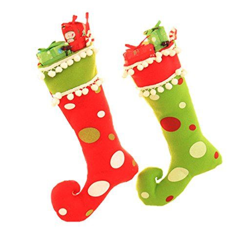 Boot Christmas Stocking - Zerowin Cute Elf Boots Shoes Socks Christmas Holiday Stocking Candy Gift Bags Hanging Ornaments for Santa Festival Party Tree Decoration (Red&Green)