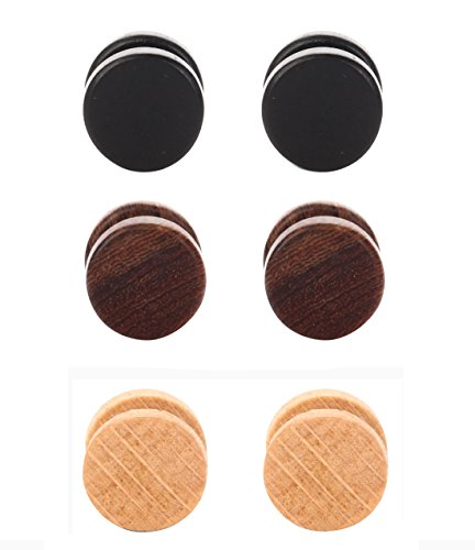 Tanyoyo Wood Cheater Fake Ear Plugs Gauges Illusion Screw Stud Earrings 3-6 pair a set (3 Pair 6mm)