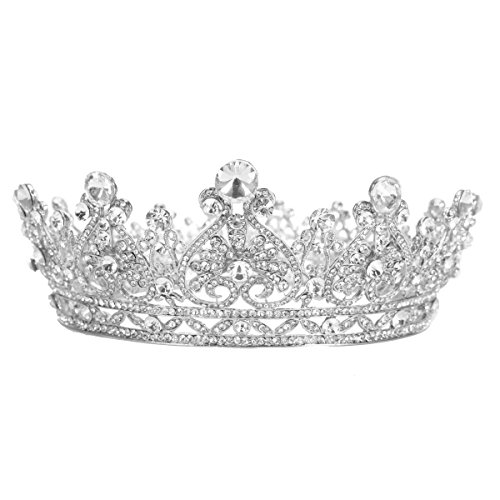 Stuff Rhinestones Crystal Round Crown Wedding Tiaras And Crowns Bridal Queen Tiara Pageant Accessory (Silver-plated) - Round Crown