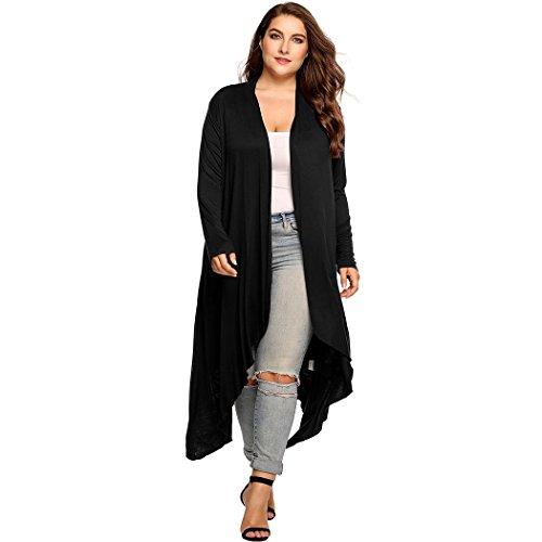 Womens Plus Size Long Sleeve Loose Waterfall Drape Open Front Maxi Long Cardigan Sweater (L-5X)