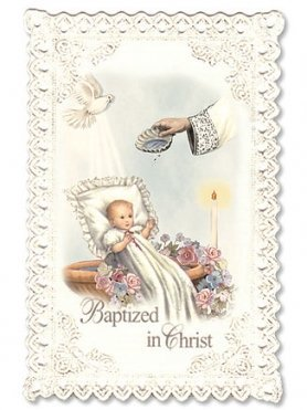 Baptism Lace Holy Card, Pack of 24