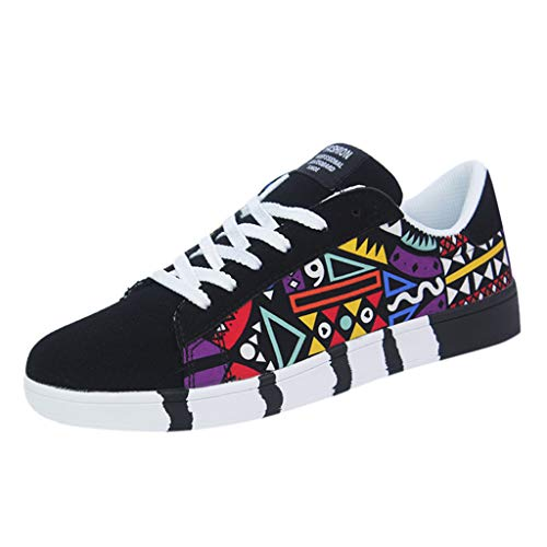Sunhusing Men's Stylish Graffiti Printed Canvas Flat Shoes Casual Lace-Up Running Shoes Sneakers Black