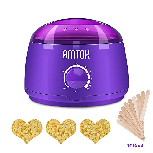 Wax Warmer,AMTOK Hair Removal Waxing Kit Electric Pot Heater for Rapid Waxing of All Body, Face, Bikini Area, Legs for Women and Men with 3 Hard Wax Beans and 10 Wax Applicator Sticks by AMTOK