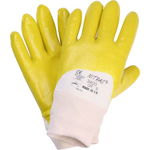 144 Paar NITRAS 03400 Nitrilhandschuhe gelb mit Strickbund Arbeitshandschuhe Gr.: 9
