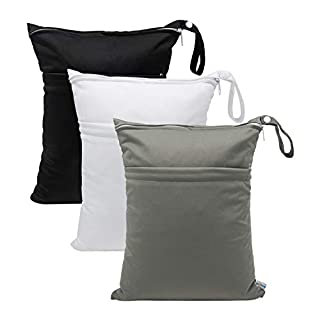 Babygoal Wet Dry Bags for Baby Cloth Diapers, Washable Travel Bags, Beach, Pool, Gym Bag for Swimsuits & Wet Clothes with 2 Pockets 3 Pack L-BWG