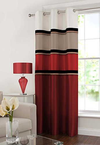 (GYROHOME Vienna Blackout Grommets Top Ring Top/Eyelet Fully Lined Readymade Curtain with Sheer 1 Panell (Red, 54Wx84L))