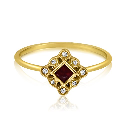 Square Shape Diamond Accented Ring - 8