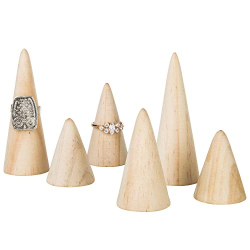 MyGift Set of 6 Natural Wood Cone Ring Holders